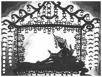Fotograma de Las aventuras del príncipe Achmed, film de Lotte Reiniger
